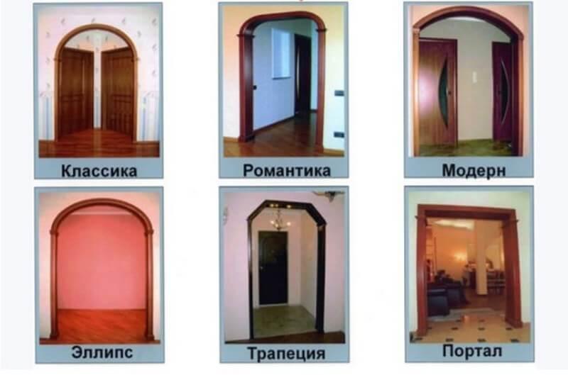Наиболее распространенные образцы межкомнатных арок