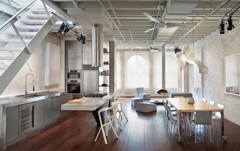 Кухня хай-тек в интерьере в стиле лофт