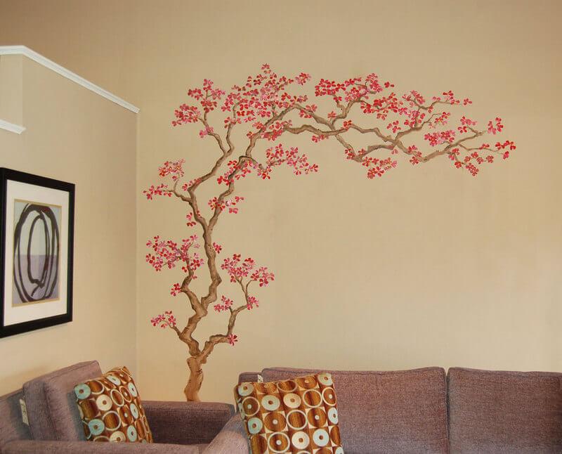 Фотообои с деревом на стене