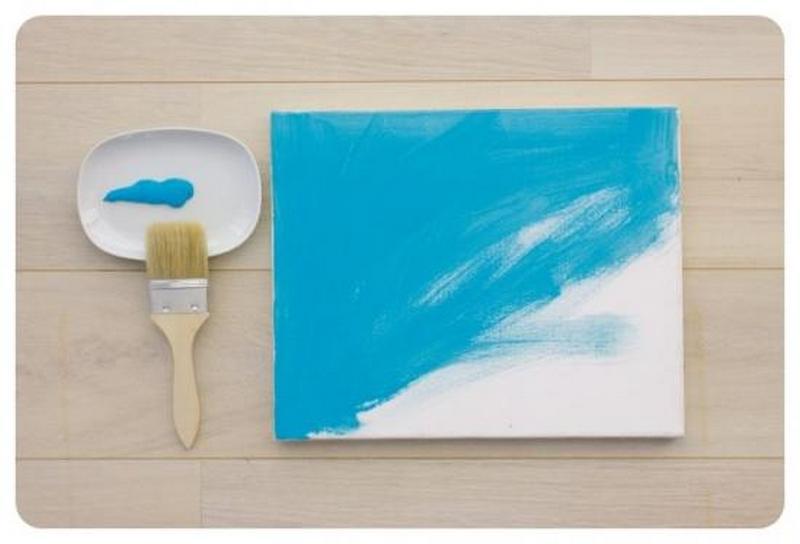 Покрасьте ткань в голубой цвет