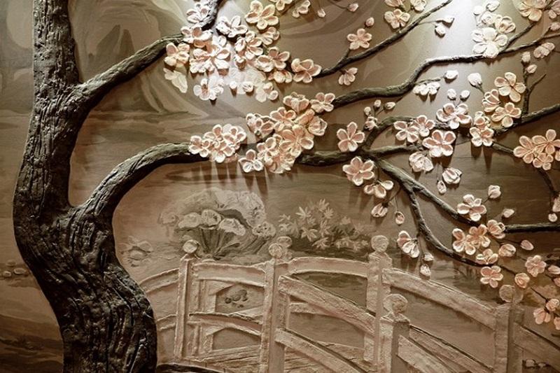 Объемная картина на стене из дерева
