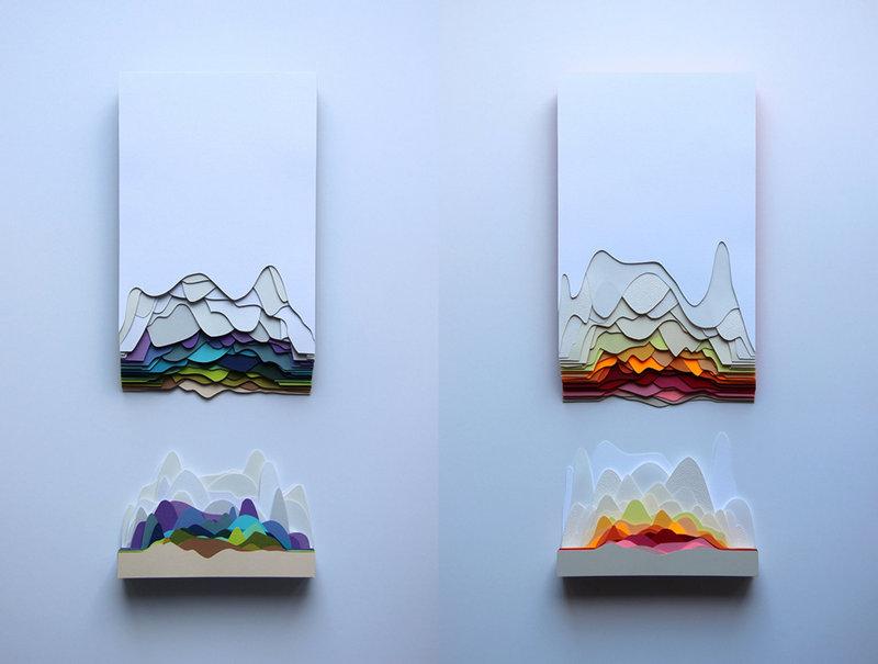 Объемные картины из бумаги на стене