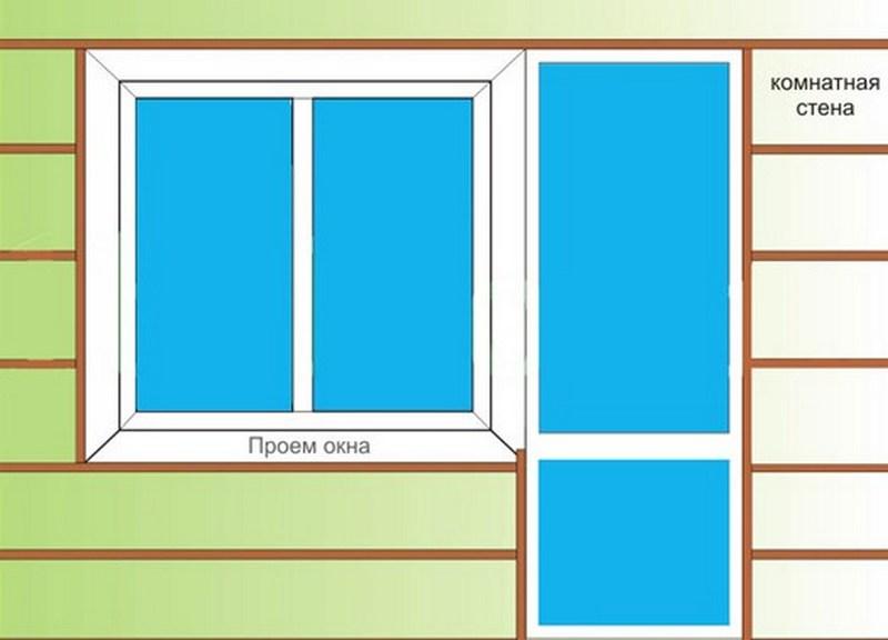 Пример простейшей обрешетки балкона