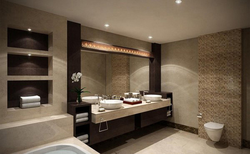 Гипсокартоновые стены и полки в интерьере ванной