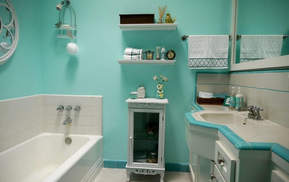 Клеевые краски в интерьере ванной