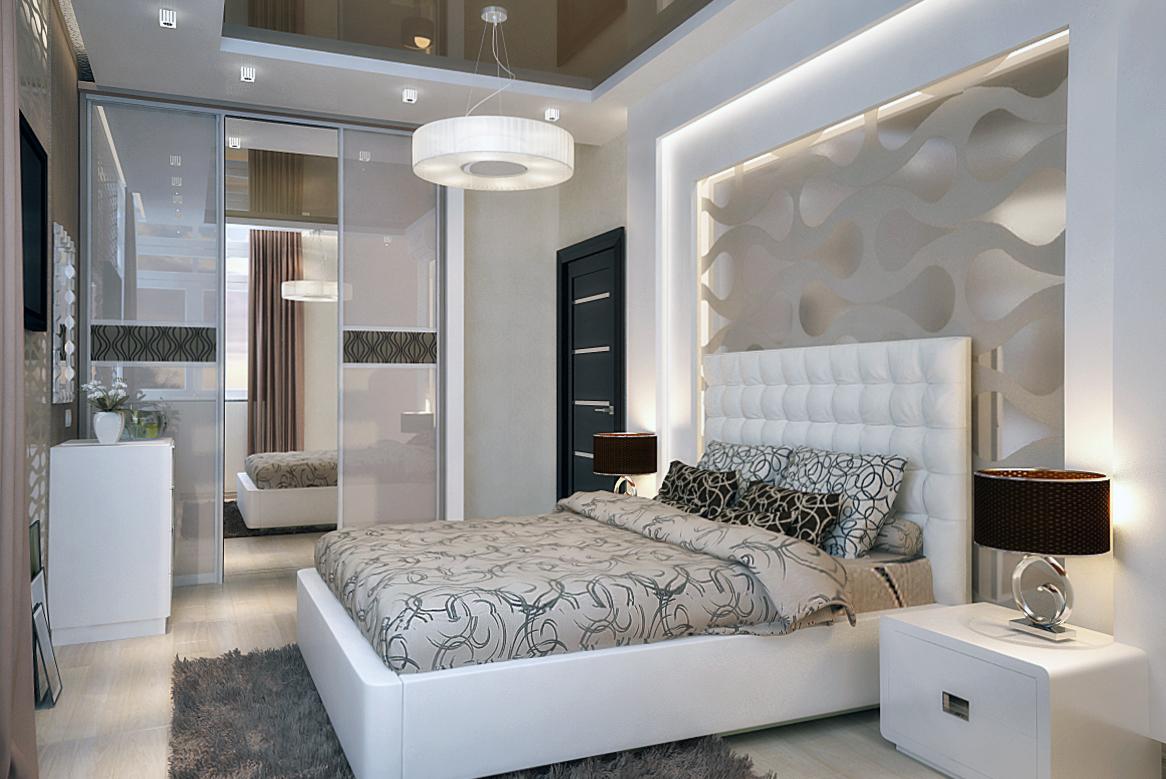 Обои в спальне в стиле модерн
