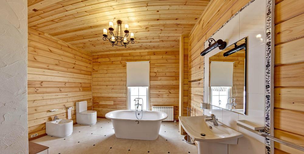 Отделка стен ванной деревянными досками