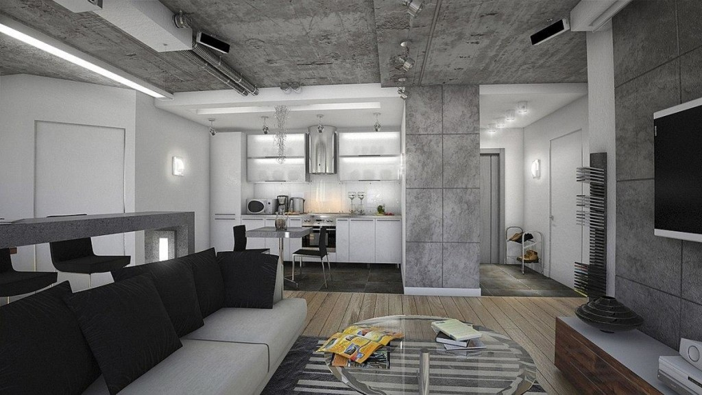 Декоративная штукатурка под бетон в интерьере