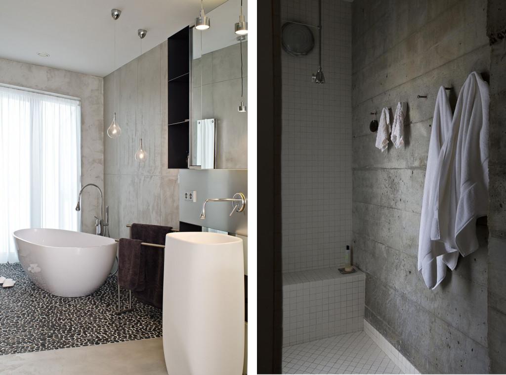 Декоративная штукатурка под бетон в ванной