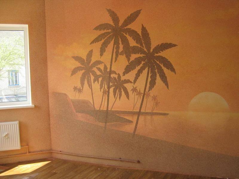 Картина из жидких обоев в комнате