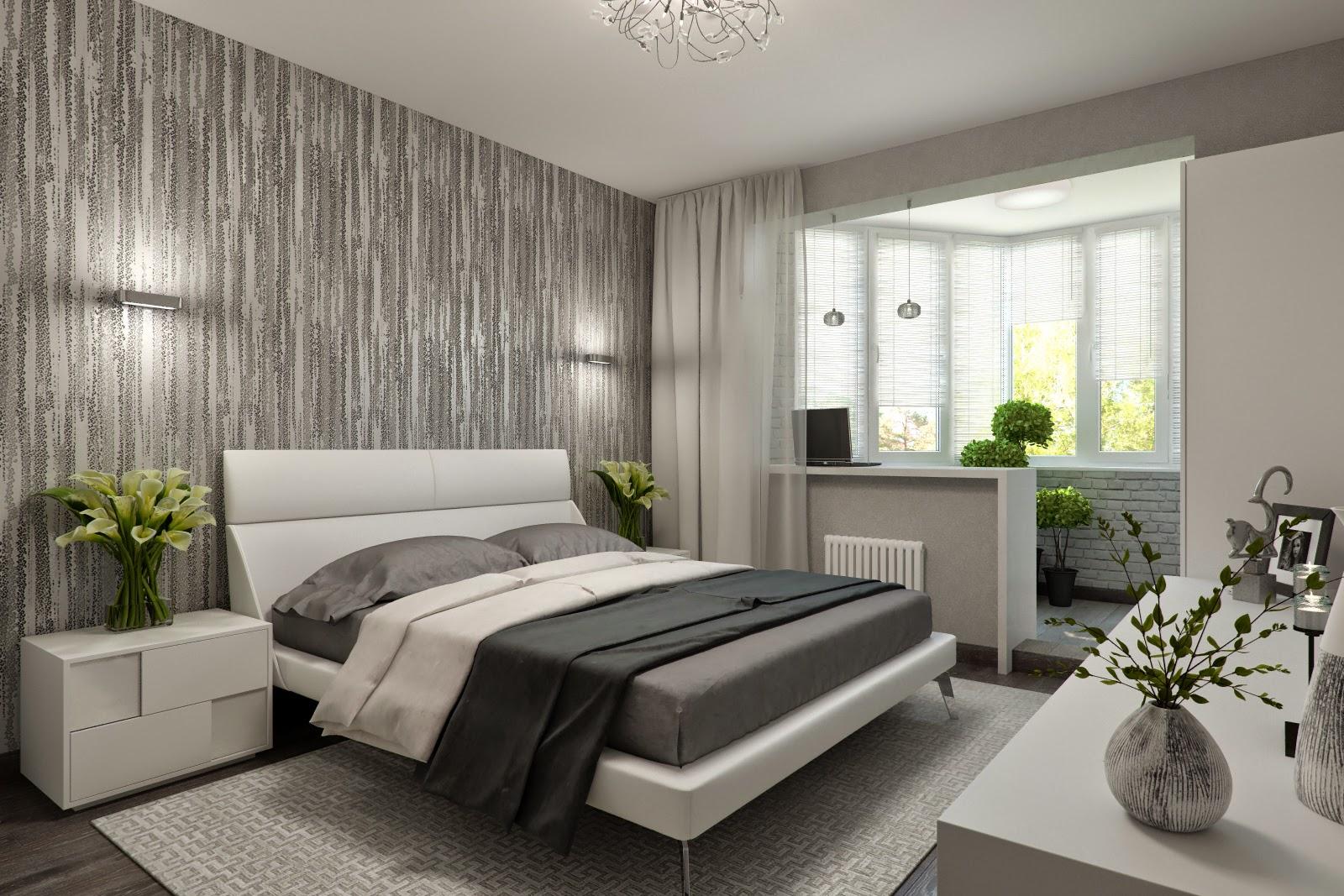 Оформление спальни с балконом в серых тонах