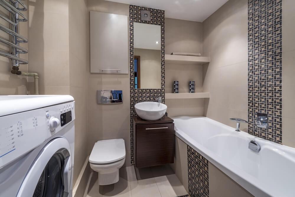 Геометрические орнаменты в интерьере ванной