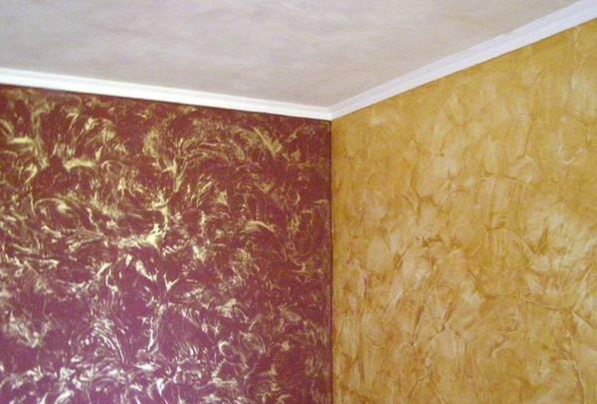 Декоративная покраска стен в гостиной